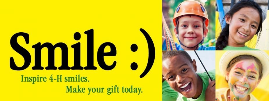 "faces of four youth with the words ""Smile :) Inspire 4-H smiles. Make your gift today."